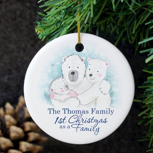 Polar Bear '1st Christmas As A Family 'Round Ceramic Decoration